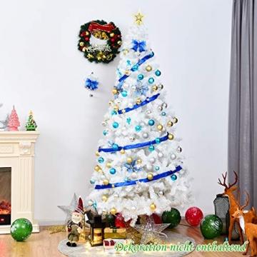 COSTWAY 150/180/210/240cm Künstlicher Weihnachtsbaum, Tannenbaum mit Metallständer, Christbaum PVC Nadeln, Kunstbaum Weihnachten ideal für Zuhause, Büro, Geschäfte und Hotels, Weiß (240cm) - 3