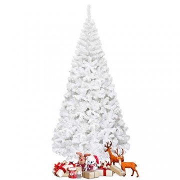 COSTWAY 150/180/210/240cm Künstlicher Weihnachtsbaum, Tannenbaum mit Metallständer, Christbaum PVC Nadeln, Kunstbaum Weihnachten ideal für Zuhause, Büro, Geschäfte und Hotels, Weiß (240cm) - 1