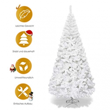 COSTWAY 150/180/210/240cm Künstlicher Weihnachtsbaum, Tannenbaum mit Metallständer, Christbaum PVC Nadeln, Kunstbaum Weihnachten ideal für Zuhause, Büro, Geschäfte und Hotels, Weiß (240cm) - 6
