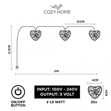 CozyHome LED Lichterkette Herz – 5m strombetrieben   20 Herzen warmweiß   Led Herz Strom   Tumblr Deko für: Mädchen Schlafzimmer, Hochzeit, Schminktisch   Rosa Gold Lichterketten mit Stecker - 3