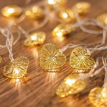 CozyHome LED Lichterkette Herz – 5m strombetrieben   20 Herzen warmweiß   Led Herz Strom   Tumblr Deko für: Mädchen Schlafzimmer, Hochzeit, Schminktisch   Rosa Gold Lichterketten mit Stecker - 1