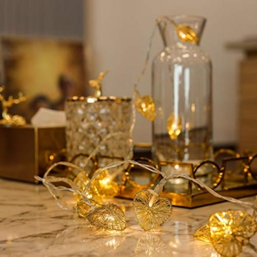 CozyHome LED Lichterkette Herz – 5m strombetrieben   20 Herzen warmweiß   Led Herz Strom   Tumblr Deko für: Mädchen Schlafzimmer, Hochzeit, Schminktisch   Rosa Gold Lichterketten mit Stecker - 5