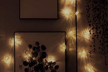 CozyHome LED Lichterkette Herz – 5m strombetrieben   20 Herzen warmweiß   Led Herz Strom   Tumblr Deko für: Mädchen Schlafzimmer, Hochzeit, Schminktisch   Rosa Gold Lichterketten mit Stecker - 6