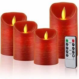 CPROSP 4er LED Kerzen Advent mit Fernbedienung aus Echtwachs, Flammenlose Rote Kerzen mit Timer, 7,5 x 9/10,5/12,5/15,5 cm, Deko für Hochzeit, Party, Weihnachten, Advent (2*AA, Erhhalten nicht) - 1