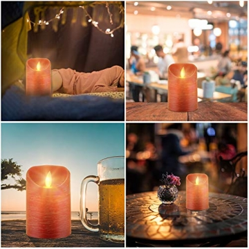 CPROSP 4er LED Kerzen Advent mit Fernbedienung aus Echtwachs, Flammenlose Rote Kerzen mit Timer, 7,5 x 9/10,5/12,5/15,5 cm, Deko für Hochzeit, Party, Weihnachten, Advent (2*AA, Erhhalten nicht) - 5
