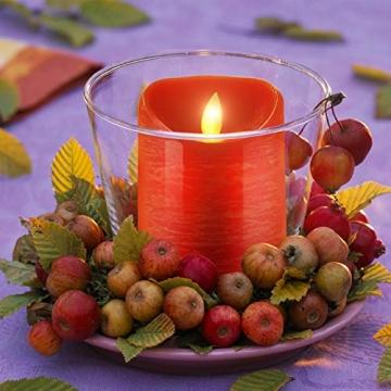 CPROSP 4er LED Kerzen Advent mit Fernbedienung aus Echtwachs, Flammenlose Rote Kerzen mit Timer, 7,5 x 9/10,5/12,5/15,5 cm, Deko für Hochzeit, Party, Weihnachten, Advent (2*AA, Erhhalten nicht) - 7