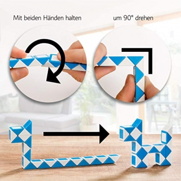 CUBIDI® 6 Mini Magic Snakes mit 24 Blöcken - Knobelspiele für Kinder und Erwachsene - Mitgebsel Kindergeburtstag oder kleine Geschenke für Kinder oder Kindergeburtstag Gastgeschenke - (6 Stück) - 5