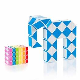 CUBIDI® Magic Snake mit 48 Blöcke - Knobelspiele für Kinder und Erwachsene - ideal als Mitgebsel Kindergeburtstag oder Kindergeburtstag Gastgeschenke oder kleine Geschenke für Kinder (Blau) - 1