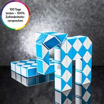 CUBIDI® Magic Snake mit 48 Blöcke - Knobelspiele für Kinder und Erwachsene - ideal als Mitgebsel Kindergeburtstag oder Kindergeburtstag Gastgeschenke oder kleine Geschenke für Kinder (Blau) - 4