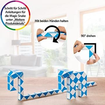CUBIDI® Magic Snake mit 48 Blöcke - Knobelspiele für Kinder und Erwachsene - ideal als Mitgebsel Kindergeburtstag oder Kindergeburtstag Gastgeschenke oder kleine Geschenke für Kinder (Blau) - 6