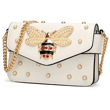 Damen Umhängetasche Mode Bienentasche Umhängetasche Mamabeutel Kettenbeutel Mädchen Tasche (21X8X15cm, Weiß) - 2
