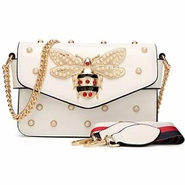 Damen Umhängetasche Mode Bienentasche Umhängetasche Mamabeutel Kettenbeutel Mädchen Tasche (21X8X15cm, Weiß) - 1