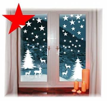 das-label Wiederverwendbare winterliche Fensterbilder weiß Winterwald mit Sterne Weihnachten Fensterdeko ohne transparenten Hintergrund (Winterwald) - 1