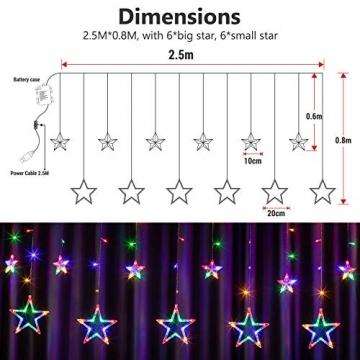 DazSpirit LED Lichtervorhang Weihnachten Sterne 2,5m mit 20 Haken und Fernbedienung, USB oder Batteriebetrieben, 8 Modi, Premium-Geschenkbox, Wasserdicht, Drinnen und Draußen (Bunt) - 2