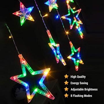 DazSpirit LED Lichtervorhang Weihnachten Sterne 2,5m mit 20 Haken und Fernbedienung, USB oder Batteriebetrieben, 8 Modi, Premium-Geschenkbox, Wasserdicht, Drinnen und Draußen (Bunt) - 3
