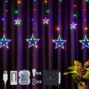 DazSpirit LED Lichtervorhang Weihnachten Sterne 2,5m mit 20 Haken und Fernbedienung, USB oder Batteriebetrieben, 8 Modi, Premium-Geschenkbox, Wasserdicht, Drinnen und Draußen (Bunt) - 1