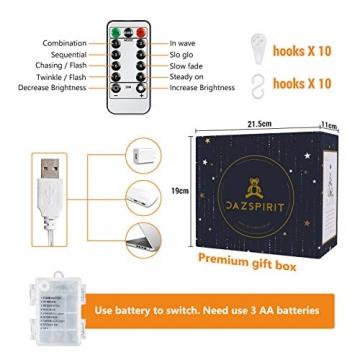 DazSpirit LED Lichtervorhang Weihnachten Sterne 2,5m mit 20 Haken und Fernbedienung, USB oder Batteriebetrieben, 8 Modi, Premium-Geschenkbox, Wasserdicht, Drinnen und Draußen (Bunt) - 5