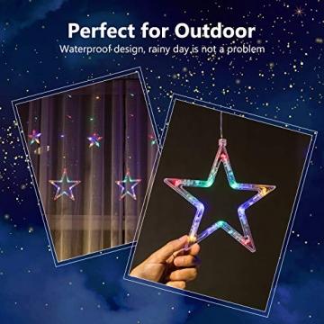 DazSpirit LED Lichtervorhang Weihnachten Sterne 2,5m mit 20 Haken und Fernbedienung, USB oder Batteriebetrieben, 8 Modi, Premium-Geschenkbox, Wasserdicht, Drinnen und Draußen (Bunt) - 6