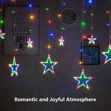 DazSpirit LED Lichtervorhang Weihnachten Sterne 2,5m mit 20 Haken und Fernbedienung, USB oder Batteriebetrieben, 8 Modi, Premium-Geschenkbox, Wasserdicht, Drinnen und Draußen (Bunt) - 7