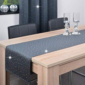DECOOR - schmutzabweisendes Tischläufern, veredelt mit einem ästhetischen Rückseite auf 1 cm, verziert mit Kristallen, Gewebe 200 g/m², 100% Polyester, hergestellt in der EU - 1