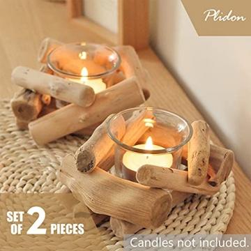 Deko Teelichthalter Holz Set, 2 Stück Vintage Kerzenständer Holz Teelicht Deko Kerzenhalter Weihnachten Kerzenleuchter Kerzen Deko Wohnzimmer Kerzen Ständer Halter für Hochzeit Tischdeko Geschenk - 2