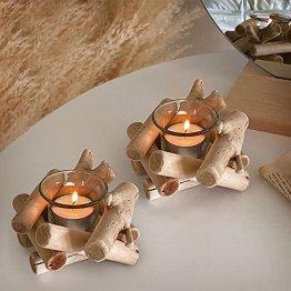 Deko Teelichthalter Holz Set, 2 Stück Vintage Kerzenständer Holz Teelicht Deko Kerzenhalter Weihnachten Kerzenleuchter Kerzen Deko Wohnzimmer Kerzen Ständer Halter für Hochzeit Tischdeko Geschenk - 1