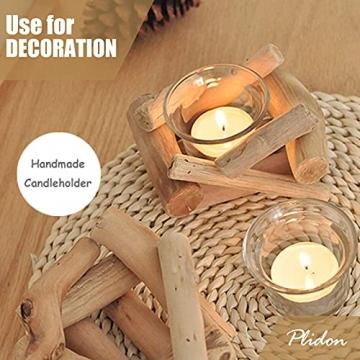 Deko Teelichthalter Holz Set, 2 Stück Vintage Kerzenständer Holz Teelicht Deko Kerzenhalter Weihnachten Kerzenleuchter Kerzen Deko Wohnzimmer Kerzen Ständer Halter für Hochzeit Tischdeko Geschenk - 4