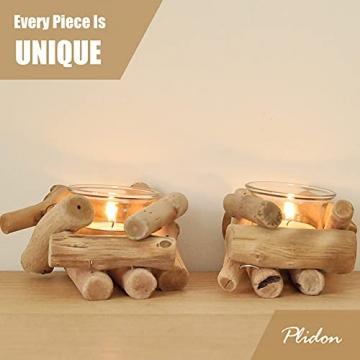 Deko Teelichthalter Holz Set, 2 Stück Vintage Kerzenständer Holz Teelicht Deko Kerzenhalter Weihnachten Kerzenleuchter Kerzen Deko Wohnzimmer Kerzen Ständer Halter für Hochzeit Tischdeko Geschenk - 5