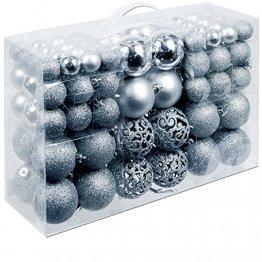 Deuba Weihnachtskugeln 100 Stück Silber - Christbaumkugeln Baumschmuck Weihnachtsbaumschmuck - 1
