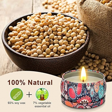 Duftkerzen Geschenkset,8St. 2.8OZ Natürliches Sojawachs Aromatherapie Kerzen mit anhaltendem Wach tragbare Reise Zinnkerzen für Stressabbau und Entspannung des Körpers für Frauen - 3