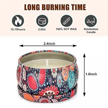Duftkerzen Geschenkset,8St. 2.8OZ Natürliches Sojawachs Aromatherapie Kerzen mit anhaltendem Wach tragbare Reise Zinnkerzen für Stressabbau und Entspannung des Körpers für Frauen - 4