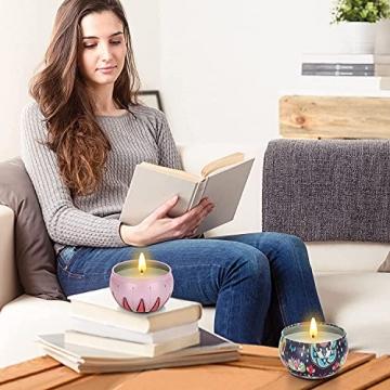 Duftkerzen Geschenkset,8St. 2.8OZ Natürliches Sojawachs Aromatherapie Kerzen mit anhaltendem Wach tragbare Reise Zinnkerzen für Stressabbau und Entspannung des Körpers für Frauen - 7