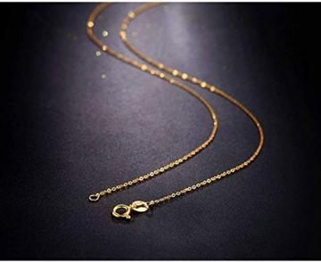 DX.GD@ Mode Damen Schmuck 24 Karat Gelbgold Luxus Echt Gold Slub Anhänger Mit 18 Karat Gold Kette Halskette, A:18k Necklace - 2