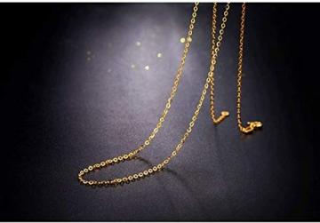 DX.GD@ Mode Damen Schmuck 24 Karat Gelbgold Luxus Echt Gold Slub Anhänger Mit 18 Karat Gold Kette Halskette, A:18k Necklace - 3