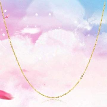 DX.GD@ Mode Damen Schmuck 24 Karat Gelbgold Luxus Echt Gold Slub Anhänger Mit 18 Karat Gold Kette Halskette, A:18k Necklace - 4