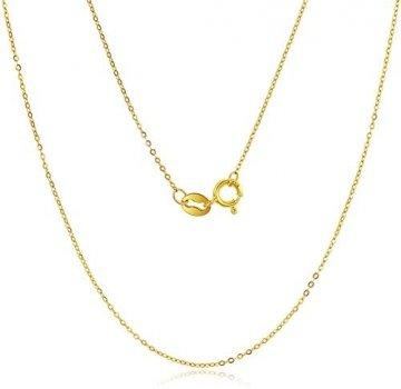 DX.GD@ Mode Damen Schmuck 24 Karat Gelbgold Luxus Echt Gold Slub Anhänger Mit 18 Karat Gold Kette Halskette, A:18k Necklace - 1