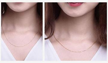DX.GD@ Mode Damen Schmuck 24 Karat Gelbgold Luxus Echt Gold Slub Anhänger Mit 18 Karat Gold Kette Halskette, A:18k Necklace - 5