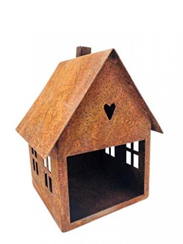 ecosoul Gartendeko Haus Laterne Gartenlicht zum Stellen Metall Rost Deko Kerzenhalter Fensterbank Advent - 4