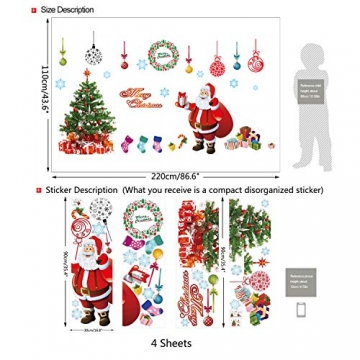 EDOTON Fensterbilder von Weihnachtsmann für Weihnachten Vitrine Dekoration Fensterdeko Set Selbstklebend Abnehmbare PVC Aufkleber Winter Dekoration 4 Stück - 2