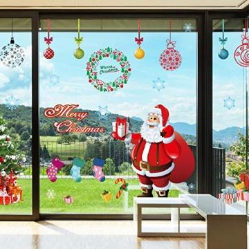 EDOTON Fensterbilder von Weihnachtsmann für Weihnachten Vitrine Dekoration Fensterdeko Set Selbstklebend Abnehmbare PVC Aufkleber Winter Dekoration 4 Stück - 3