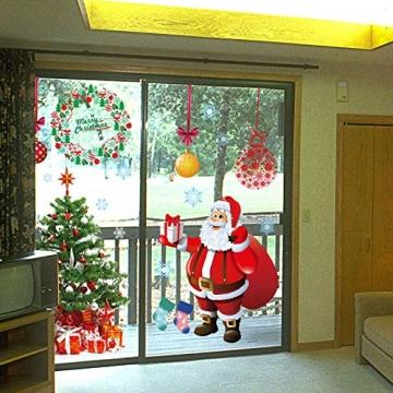 EDOTON Fensterbilder von Weihnachtsmann für Weihnachten Vitrine Dekoration Fensterdeko Set Selbstklebend Abnehmbare PVC Aufkleber Winter Dekoration 4 Stück - 4