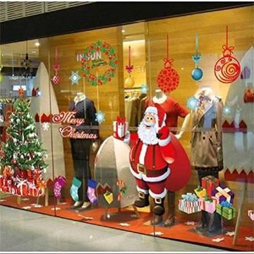 EDOTON Fensterbilder von Weihnachtsmann für Weihnachten Vitrine Dekoration Fensterdeko Set Selbstklebend Abnehmbare PVC Aufkleber Winter Dekoration 4 Stück - 1