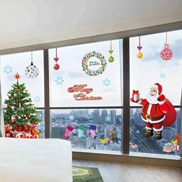 EDOTON Fensterbilder von Weihnachtsmann für Weihnachten Vitrine Dekoration Fensterdeko Set Selbstklebend Abnehmbare PVC Aufkleber Winter Dekoration 4 Stück - 5