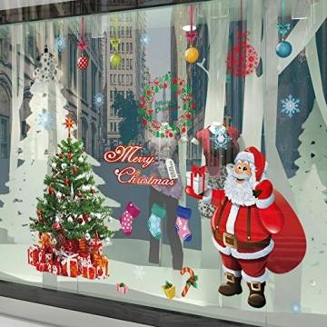 EDOTON Fensterbilder von Weihnachtsmann für Weihnachten Vitrine Dekoration Fensterdeko Set Selbstklebend Abnehmbare PVC Aufkleber Winter Dekoration 4 Stück - 6