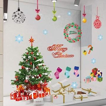 EDOTON Fensterbilder von Weihnachtsmann für Weihnachten Vitrine Dekoration Fensterdeko Set Selbstklebend Abnehmbare PVC Aufkleber Winter Dekoration 4 Stück - 7