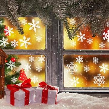 EDOTON Schneeflocken Fensterdeko Set Fensterbilder Weihnachten Selbstklebend Abnehmbare PVC Aufkleber Winter Dekoration Fensteraufkleber 6 Blatt - 2