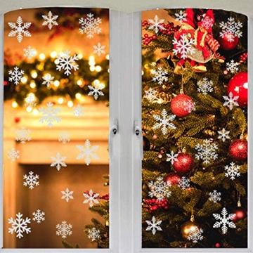 EDOTON Schneeflocken Fensterdeko Set Fensterbilder Weihnachten Selbstklebend Abnehmbare PVC Aufkleber Winter Dekoration Fensteraufkleber 6 Blatt - 3