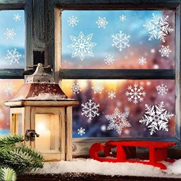 EDOTON Schneeflocken Fensterdeko Set Fensterbilder Weihnachten Selbstklebend Abnehmbare PVC Aufkleber Winter Dekoration Fensteraufkleber 6 Blatt - 4