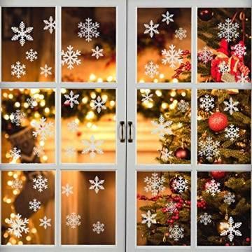 EDOTON Schneeflocken Fensterdeko Set Fensterbilder Weihnachten Selbstklebend Abnehmbare PVC Aufkleber Winter Dekoration Fensteraufkleber 6 Blatt - 1