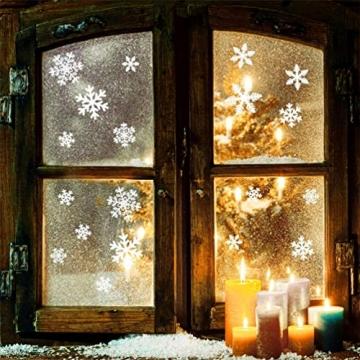 EDOTON Schneeflocken Fensterdeko Set Fensterbilder Weihnachten Selbstklebend Abnehmbare PVC Aufkleber Winter Dekoration Fensteraufkleber 6 Blatt - 5
